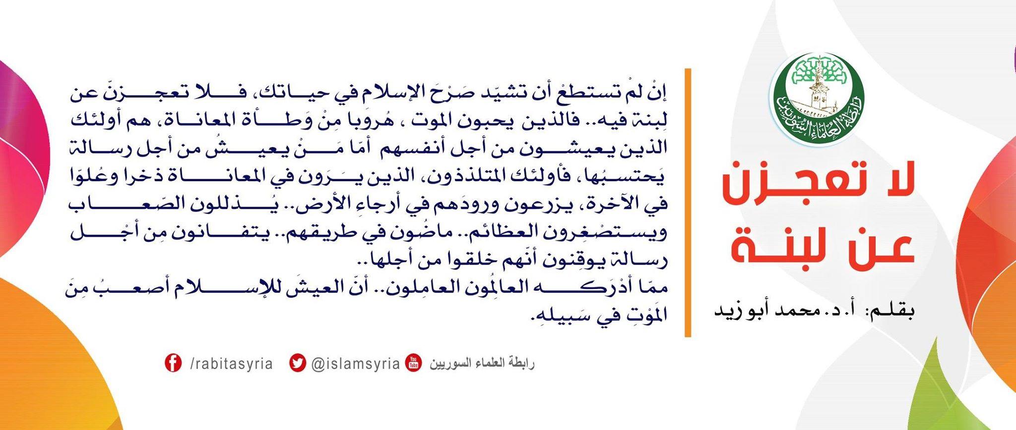 لا تعجزن عن لبنة||أ.د محمد أبو زيد