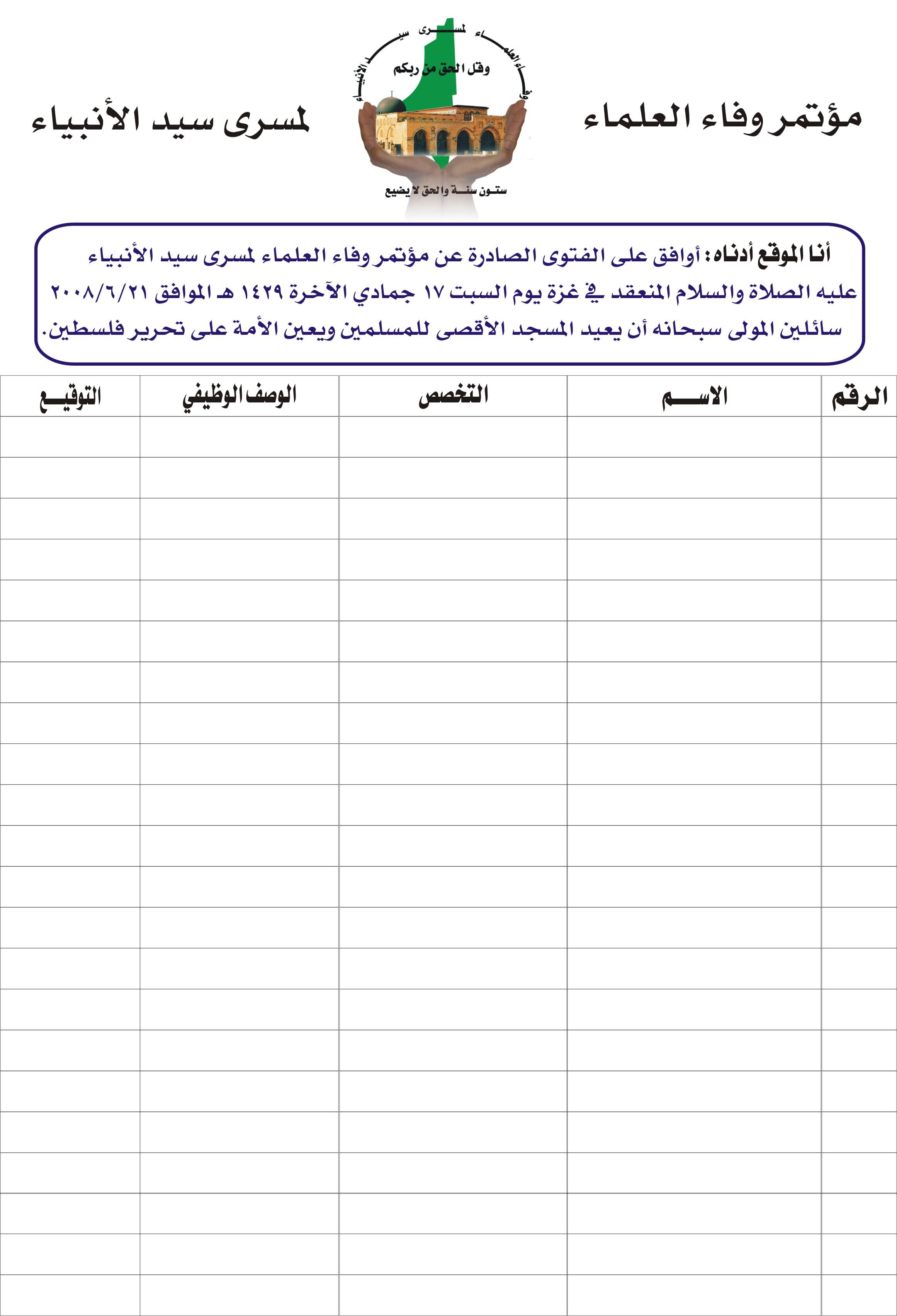 دعوة لمشاركة رابطة علماء فلسطين في الفتاوى الصادرة عنهم - ـ